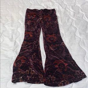 Pants - Funky pattern bell bottom faux velvet pants